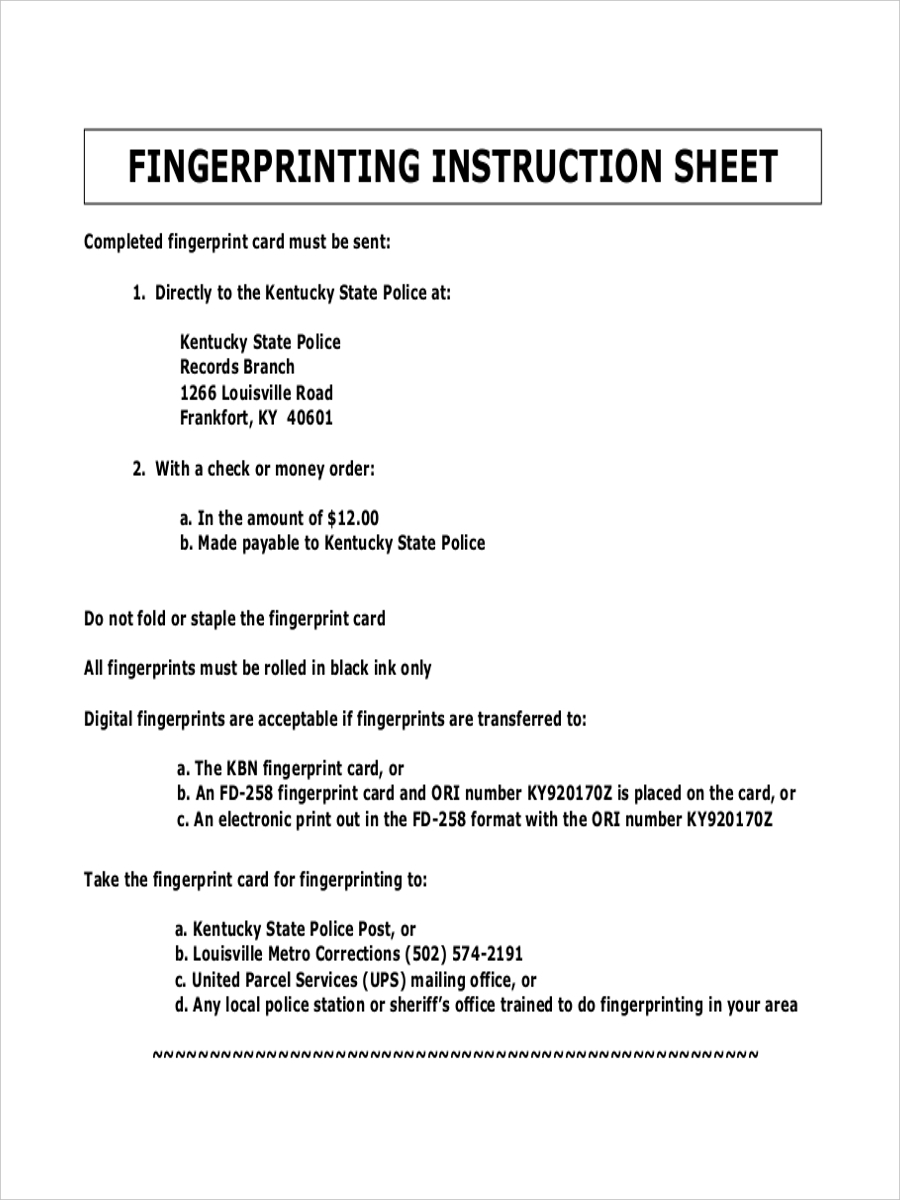fingerprint instruction sample sheet