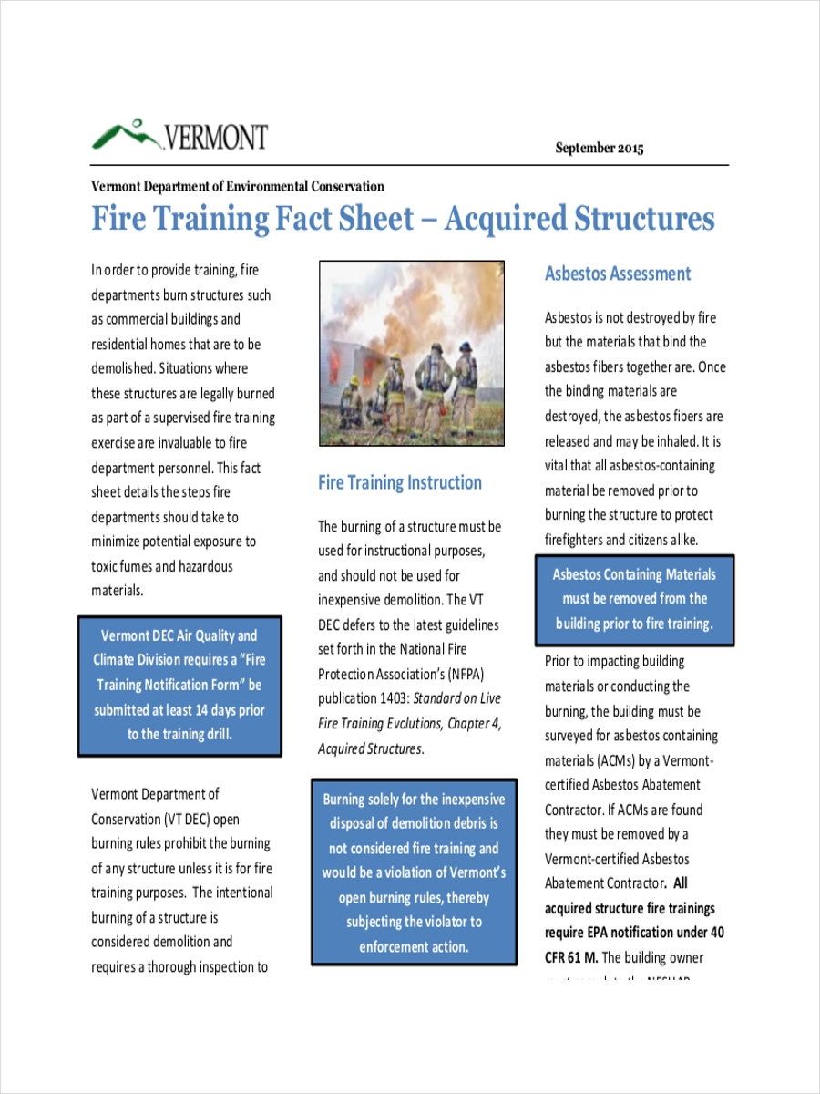 fire training fact sheet