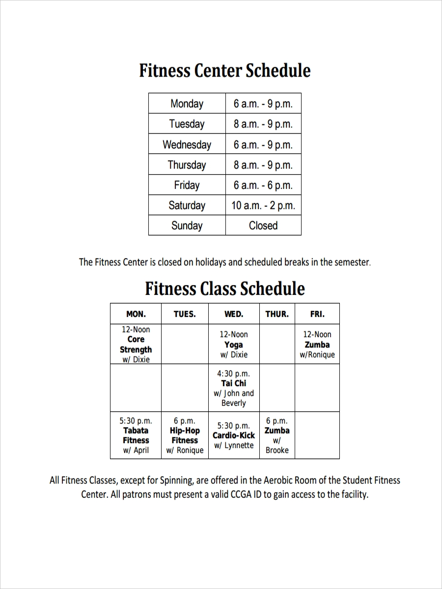 fitness center schedule