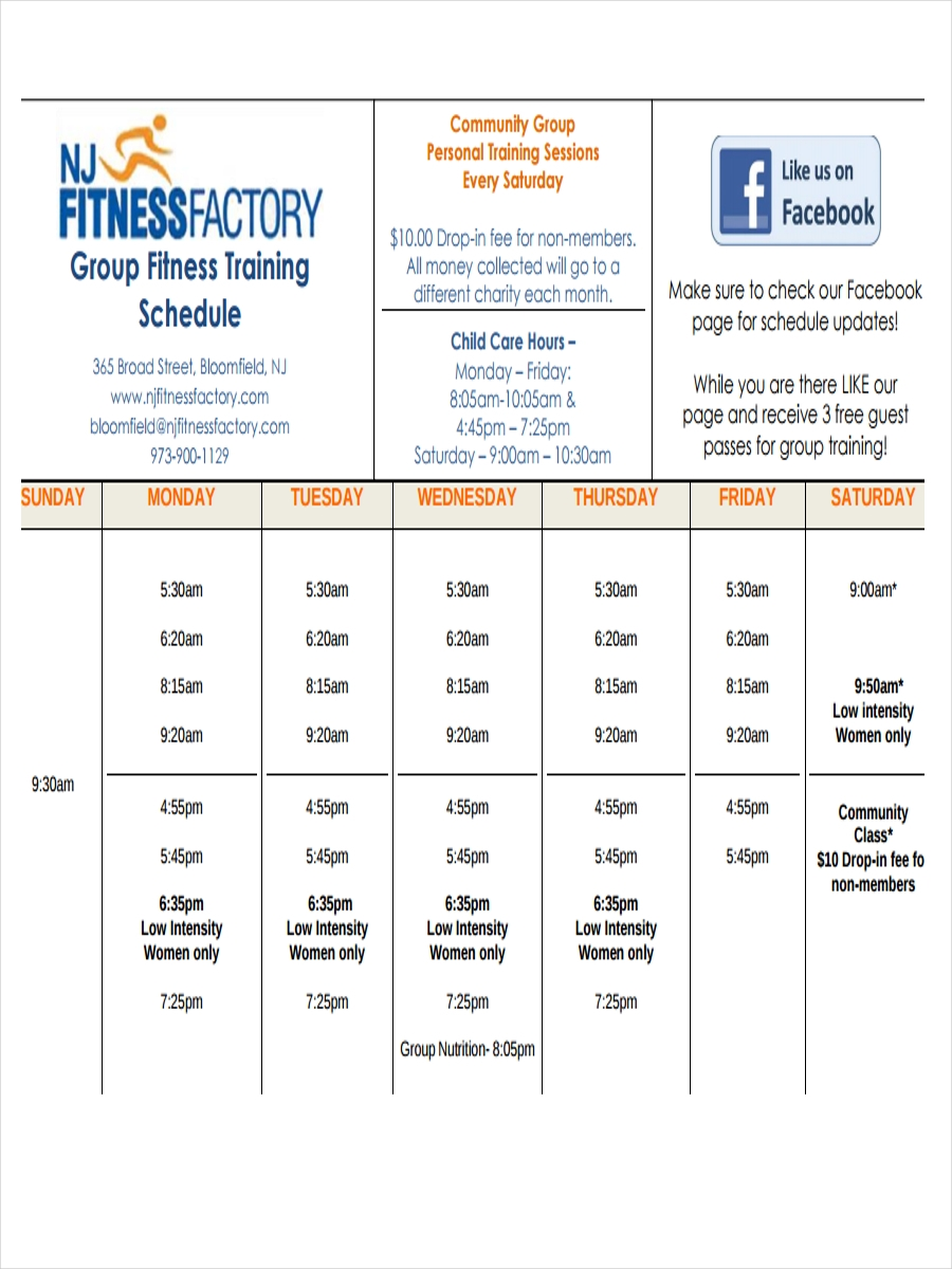 fitness training schedule