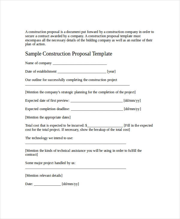 formal job proposal sample