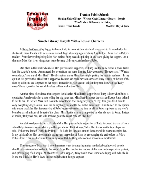literary essay samples formal literary sample