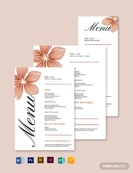 formal wedding menu template