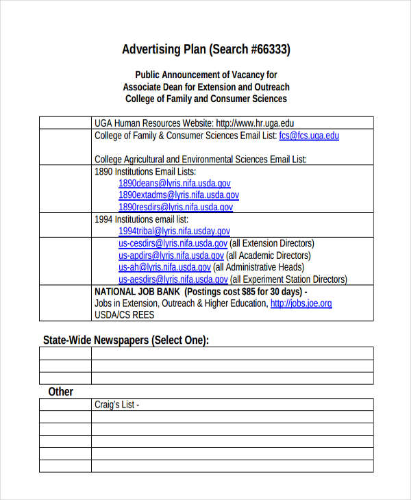 Advertising Plan Examples Samples