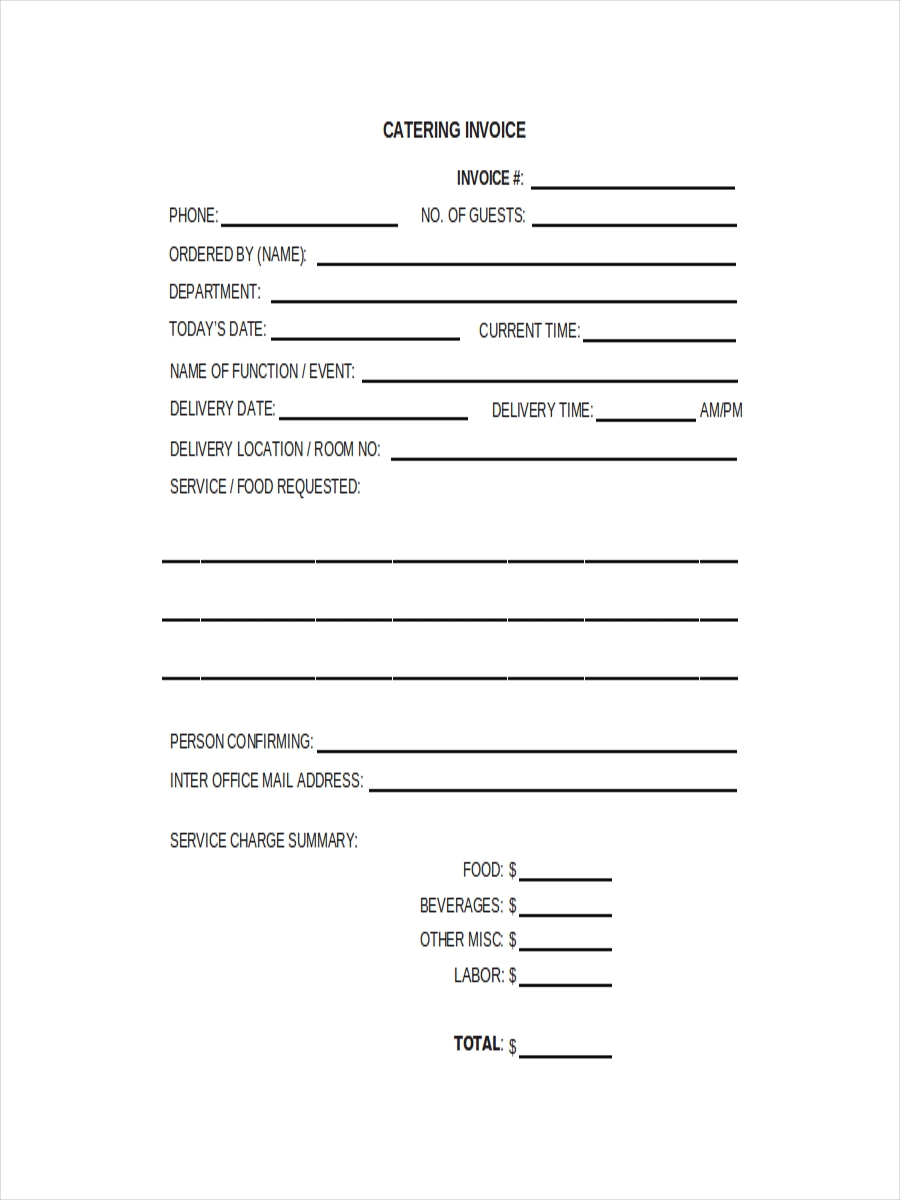 free 6  catering receipt examples  u0026 samples in pdf