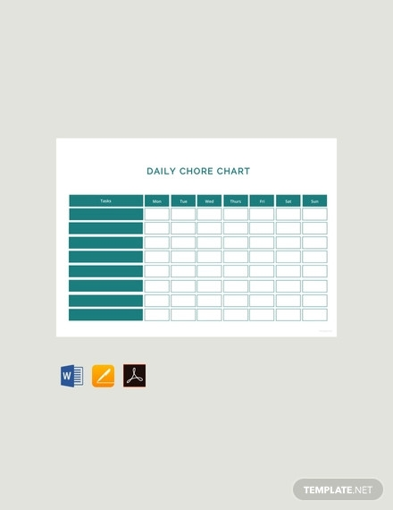 free daily chore chart template