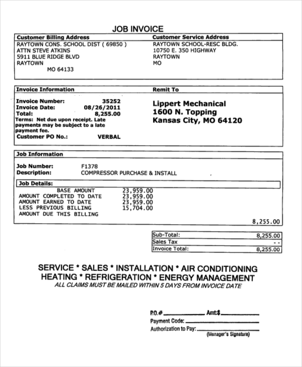 Invoice Forms Examples Samples - Free customer invoice