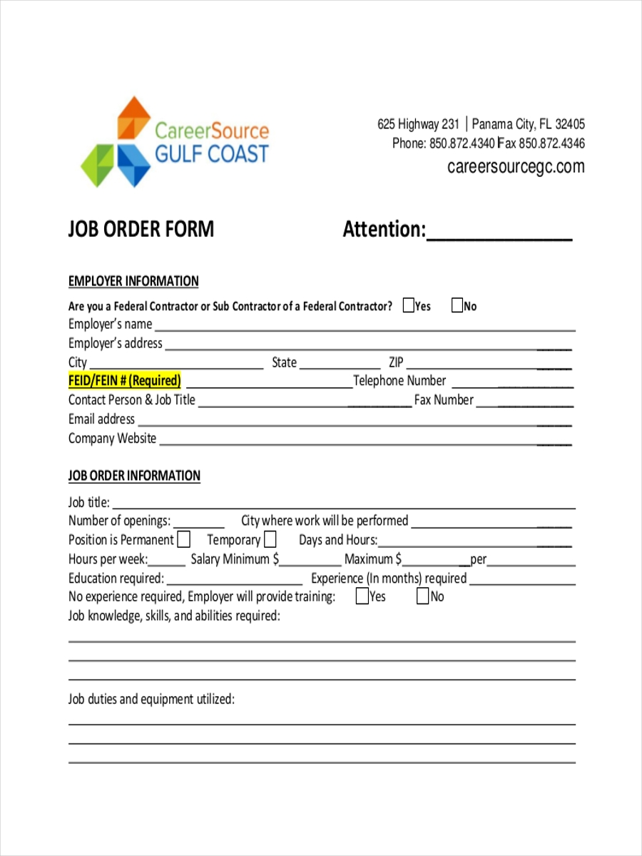 Work Order Form Sample