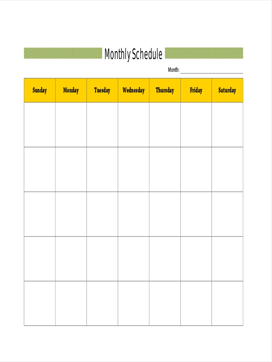 free monthly schedule