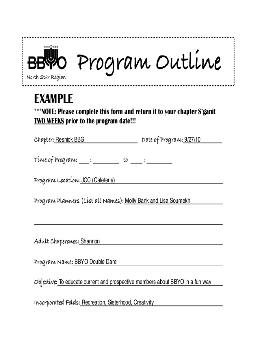 free outline for program