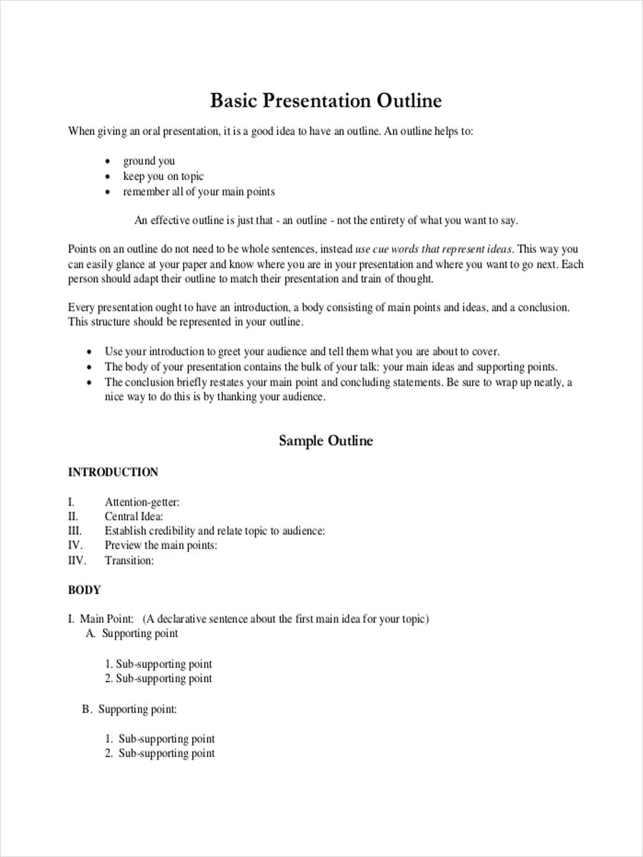 outline samples  presentation outline