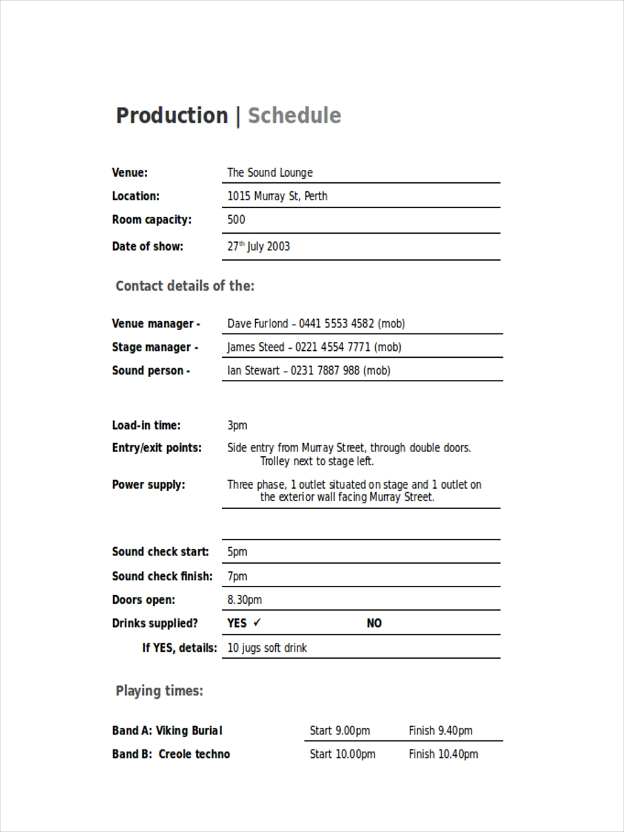 free production schedule