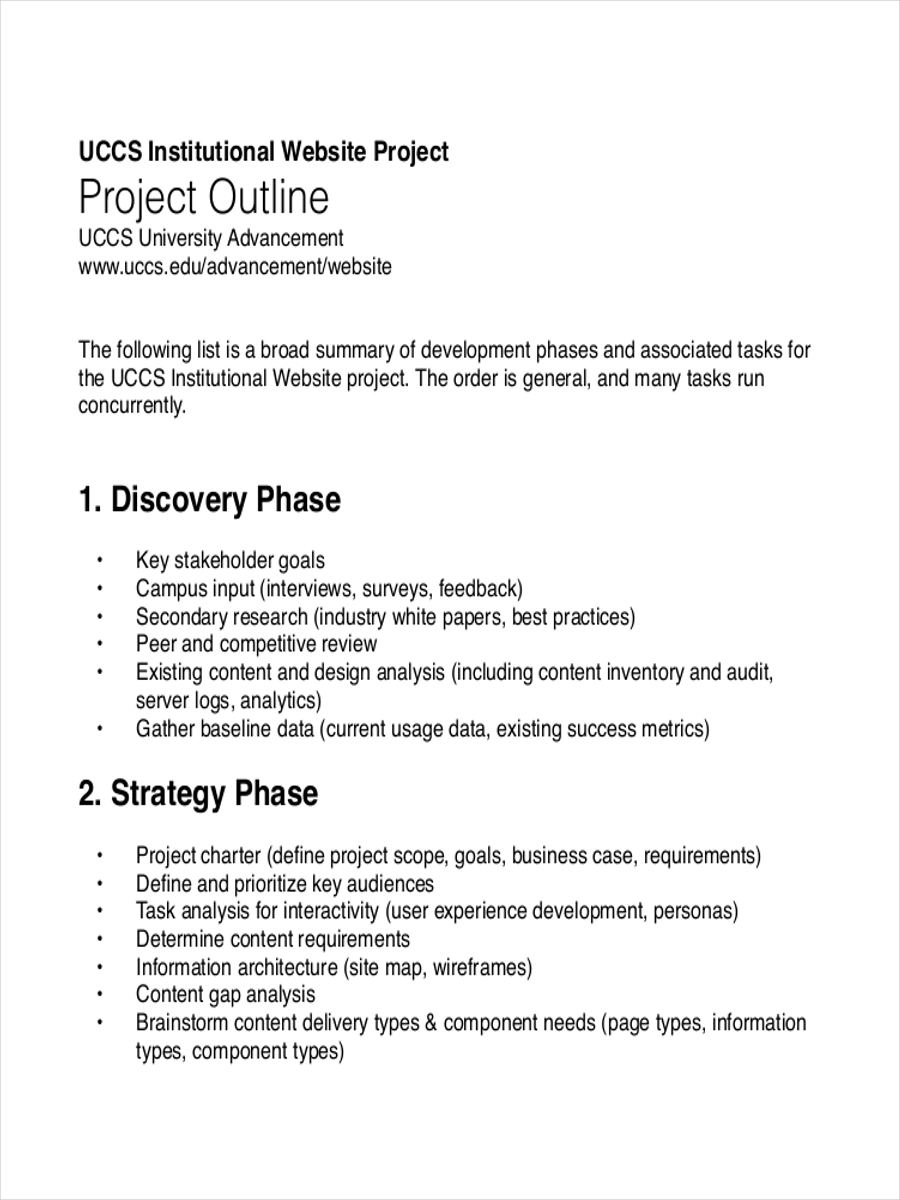 free project sample outline