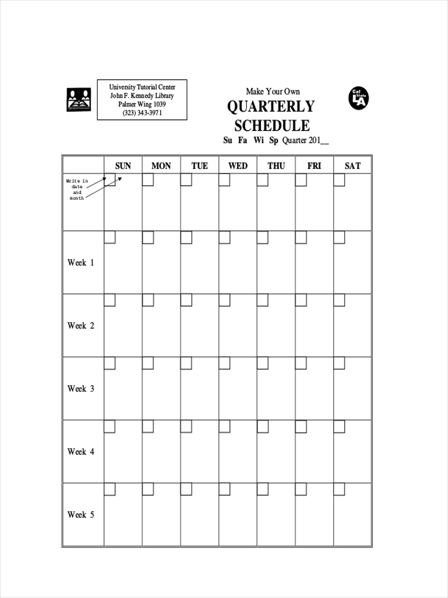 free quarterly schedule