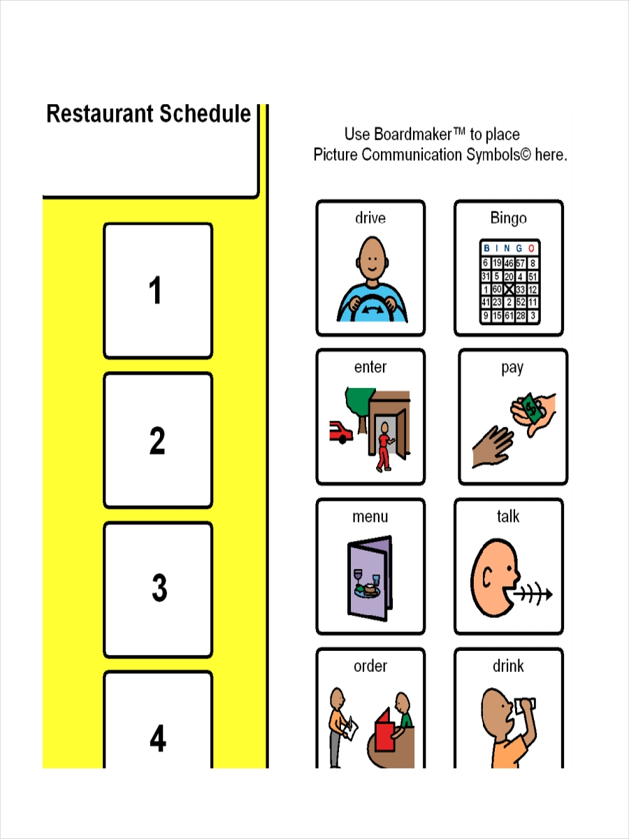 free restaurant schedule example
