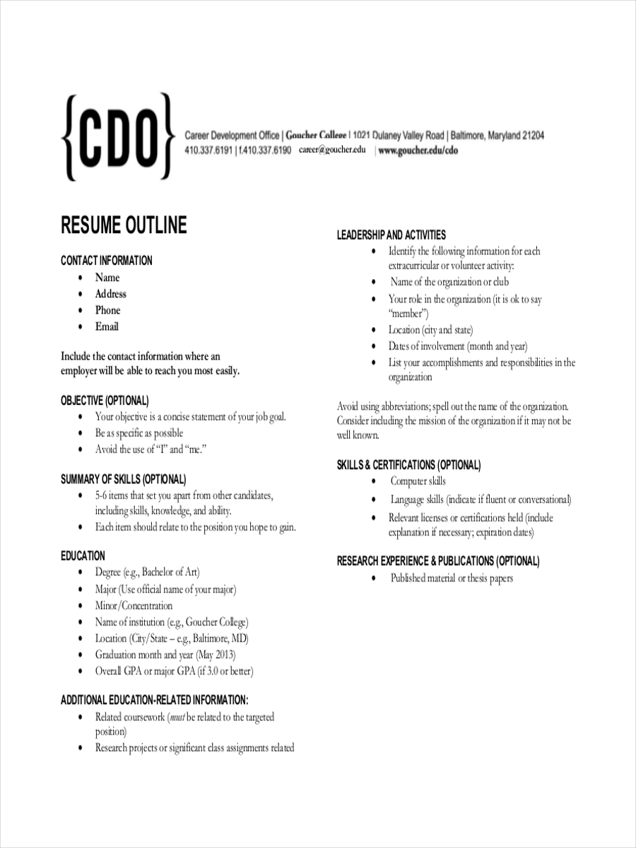 free resume outline example