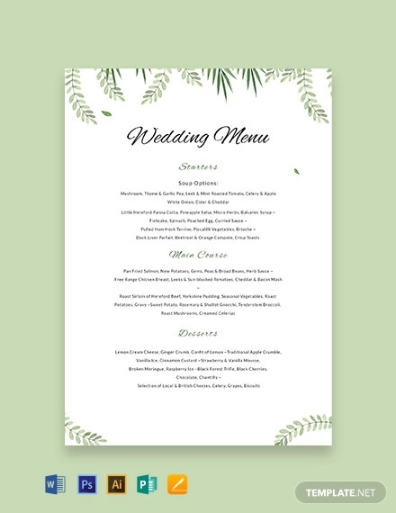 free sample wedding menu template