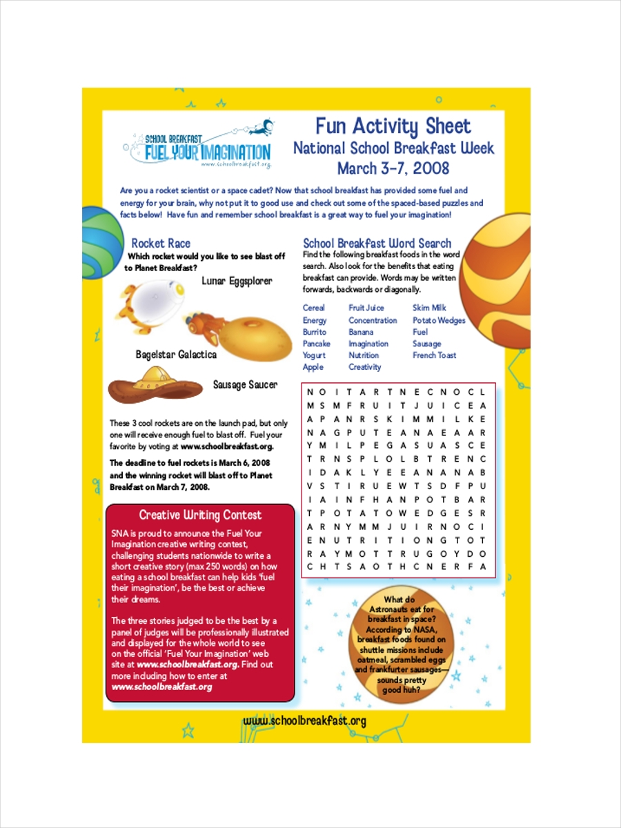 fun activity sample sheet