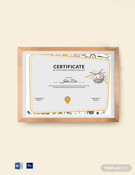 funny sport appreciation certificate template