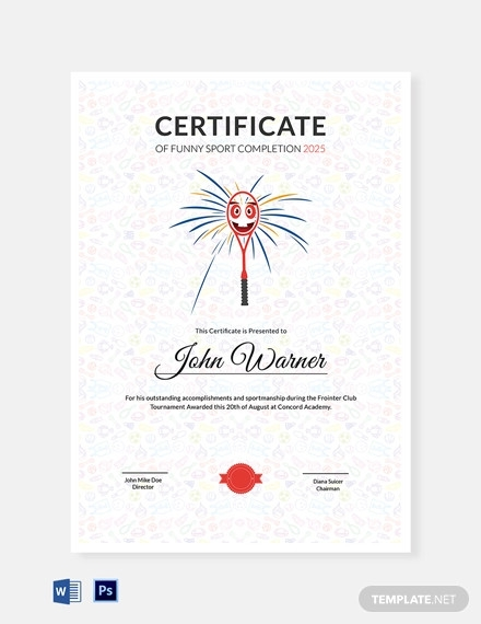 funny sports completion certificate template