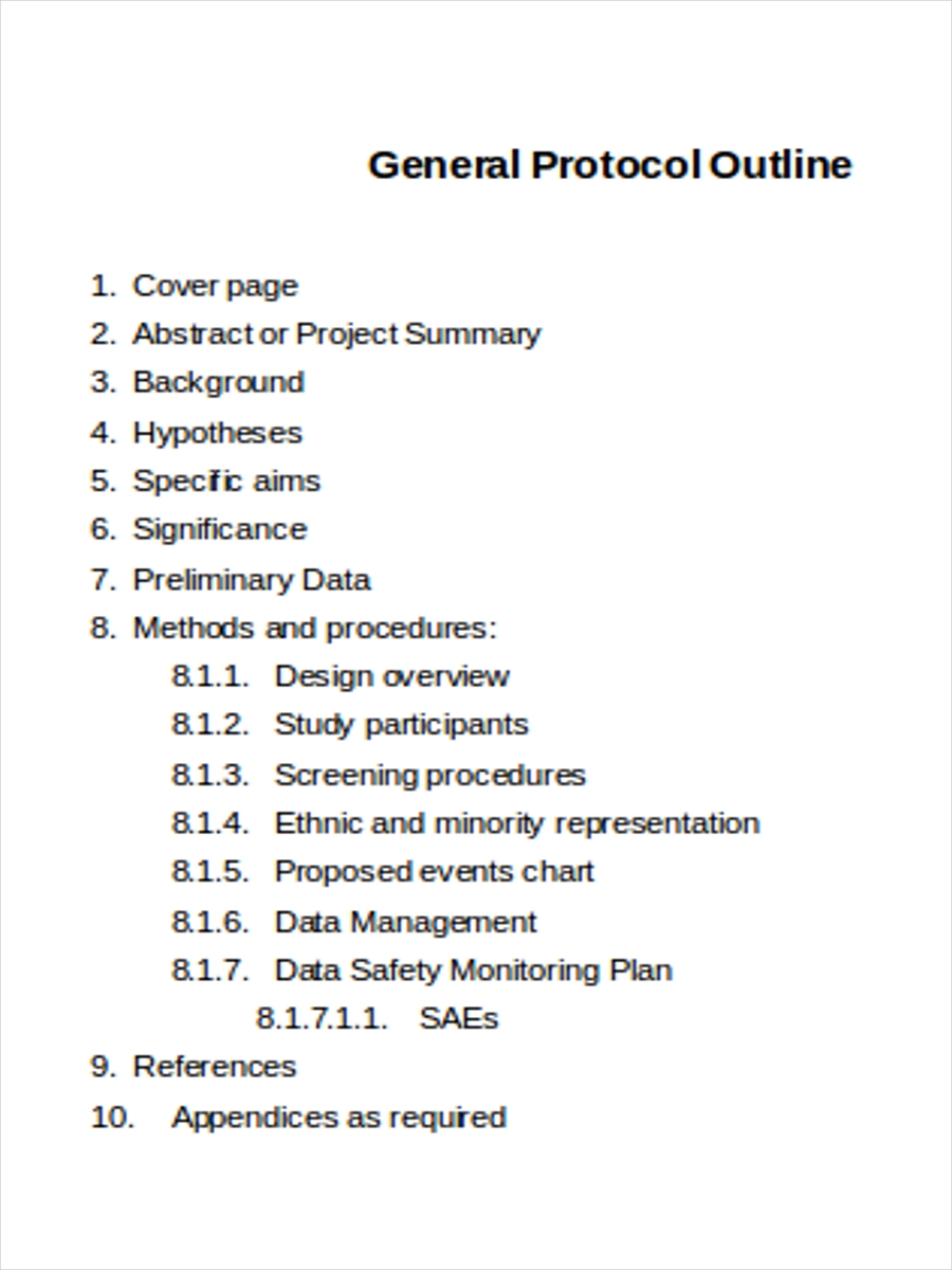 general protocol outline