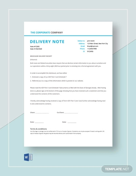 goods delivery note template to customer