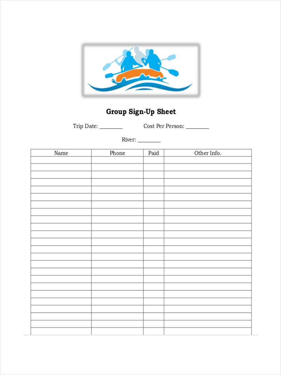 group sign up sheet