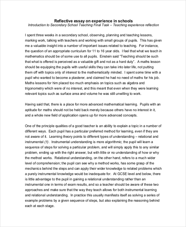 Reflection Essay  Elitamydearestco  Reflective Essay Examples Samples Pdf