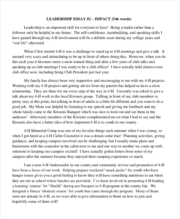 a essay on leadership Running head: leadership reflection paper 1 leadership reflection paper doc/731r school of advanced studies, university of phoenix william l buckley dr susan ferebee february 26, 2014 leadership reflection paper 2 as a leader, i will empower others by encouragement, providing the right tools.