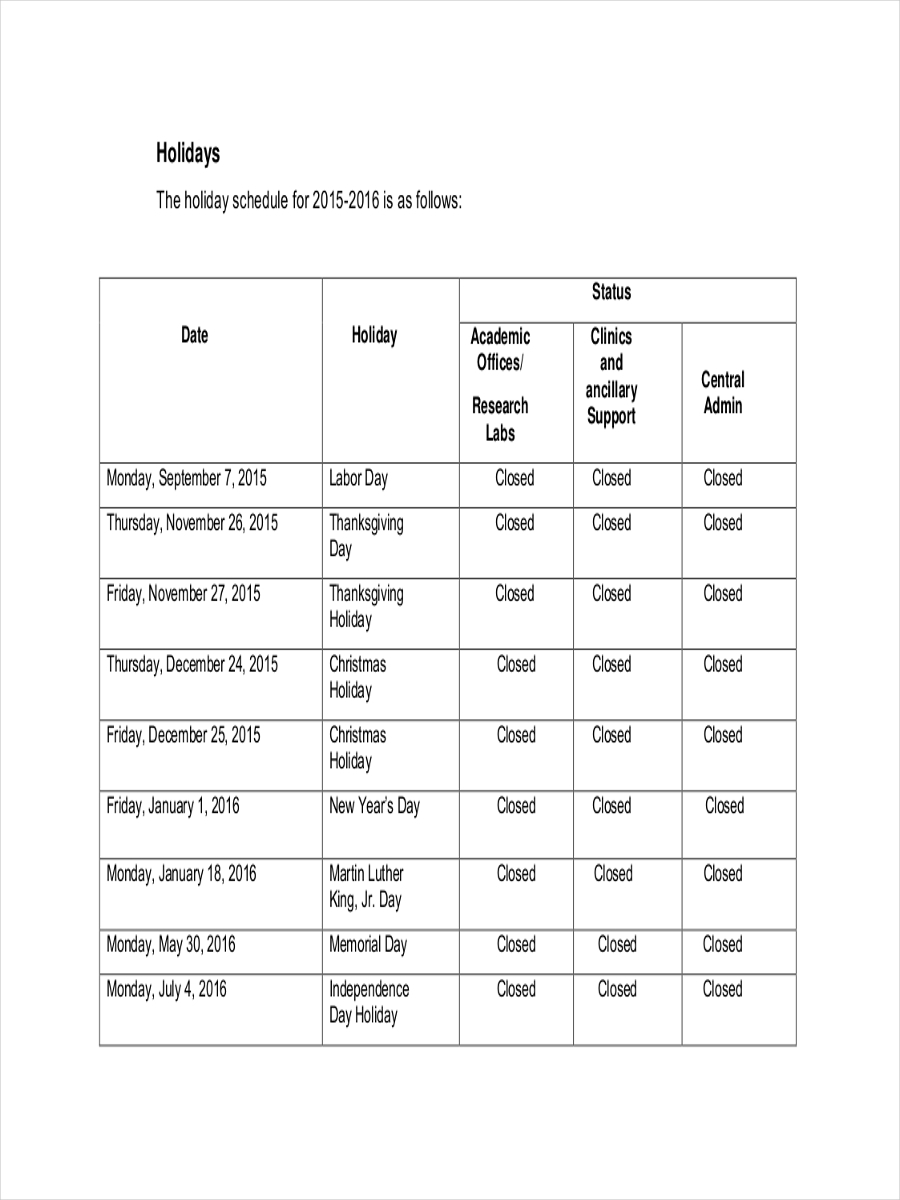 holiday staff schedule sample