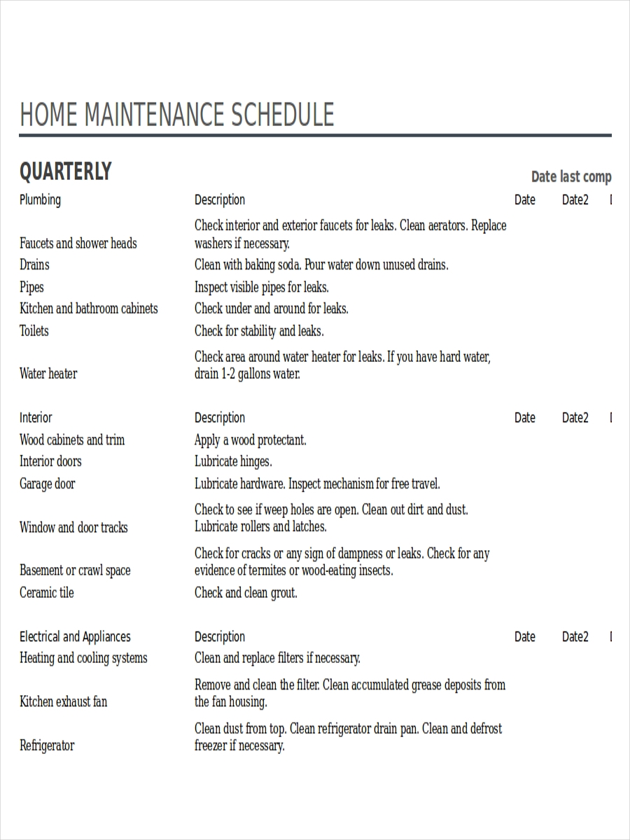 home preventive maintenance schedule