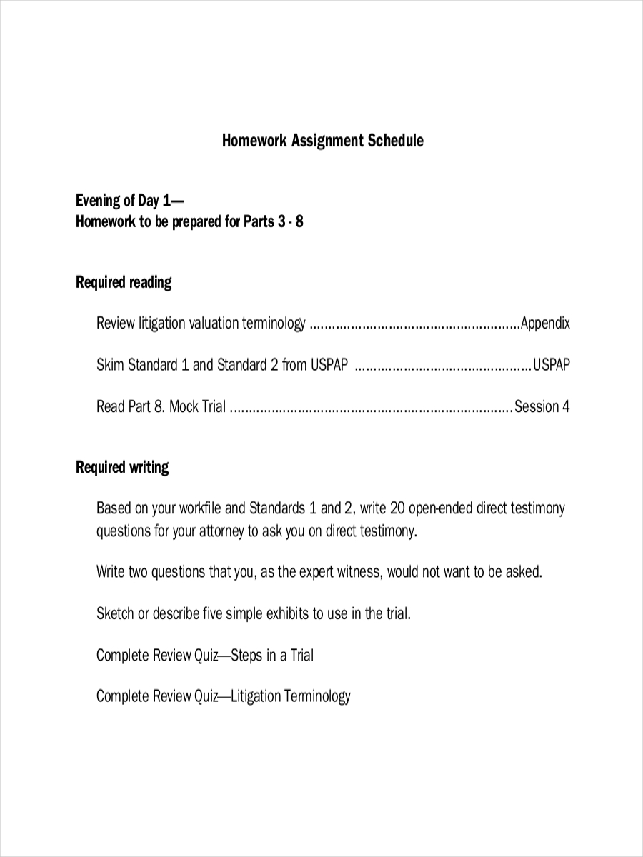 homework assignment schedule