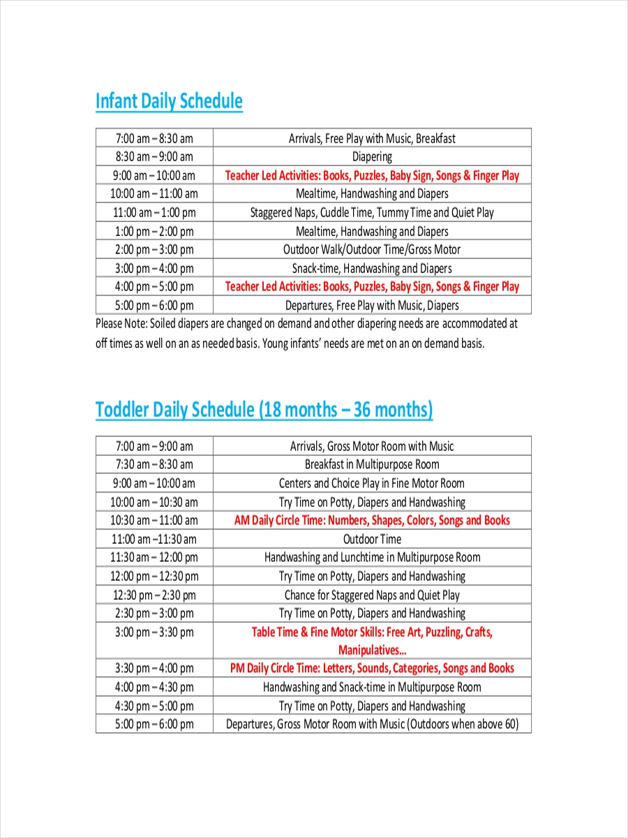 infant daily schedule