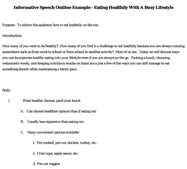 informative speech outline example