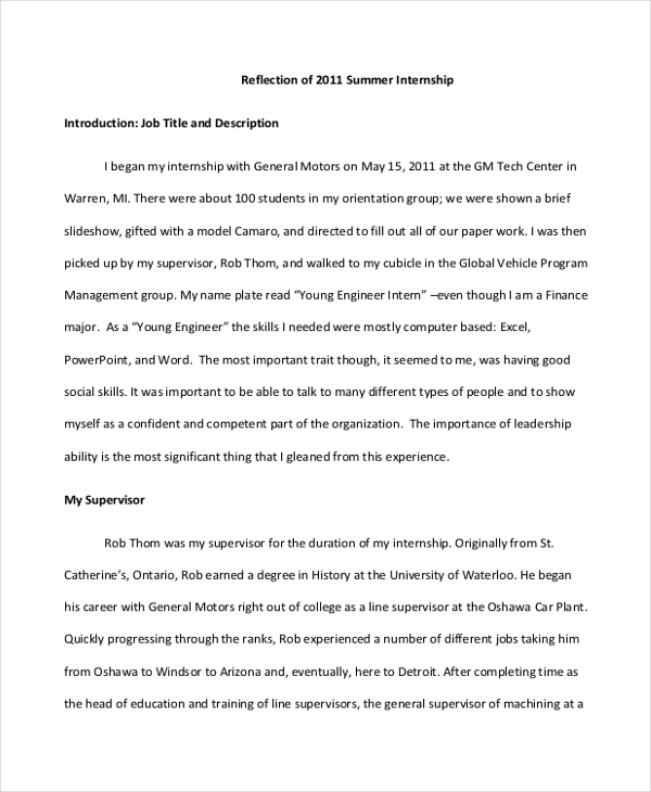 Reflection Paper Example Essays  Underfontanacountryinncom  Reflective Essay Examples Samples Pdf