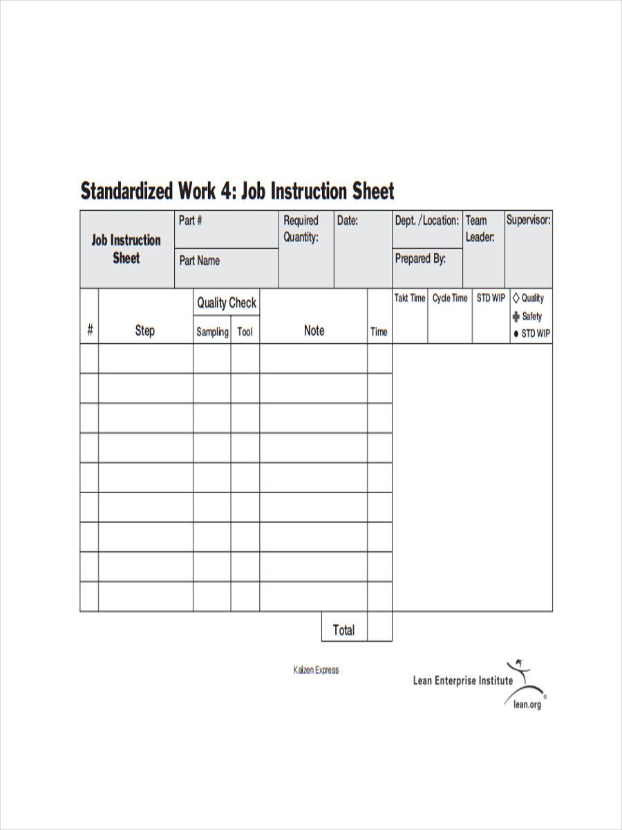 job instruction sheet example