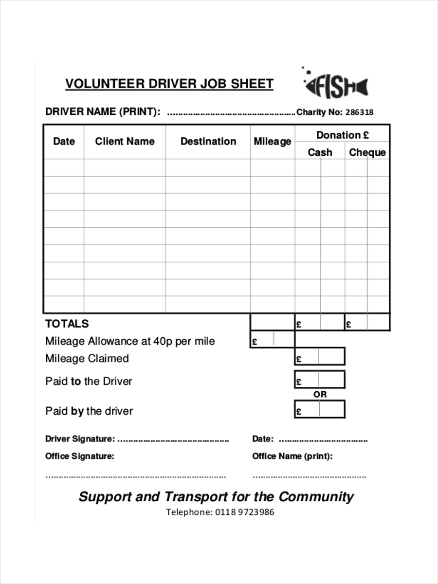 job sheet for driver