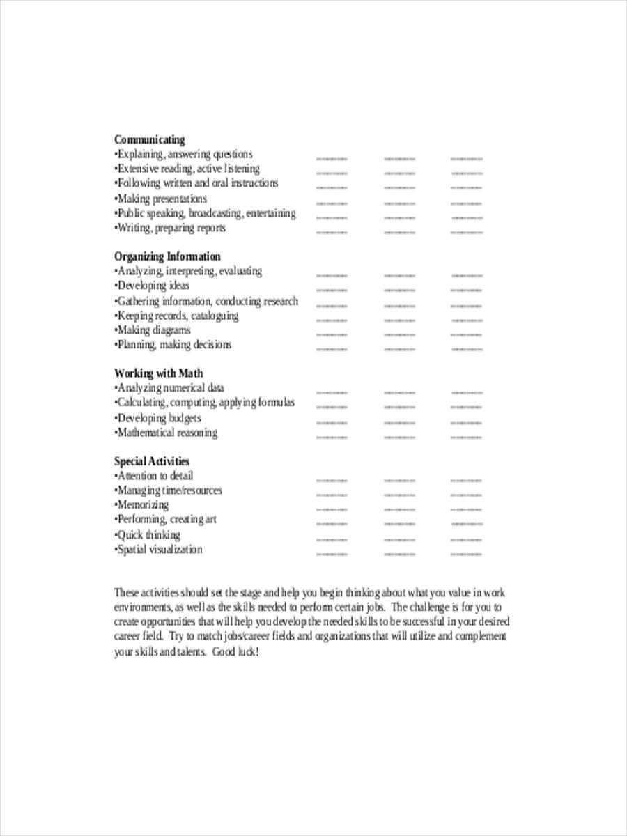 job skills inventory