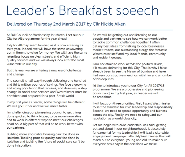 Leader's Breakfast Speech