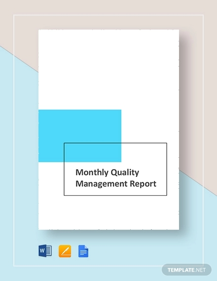monthly quality management report
