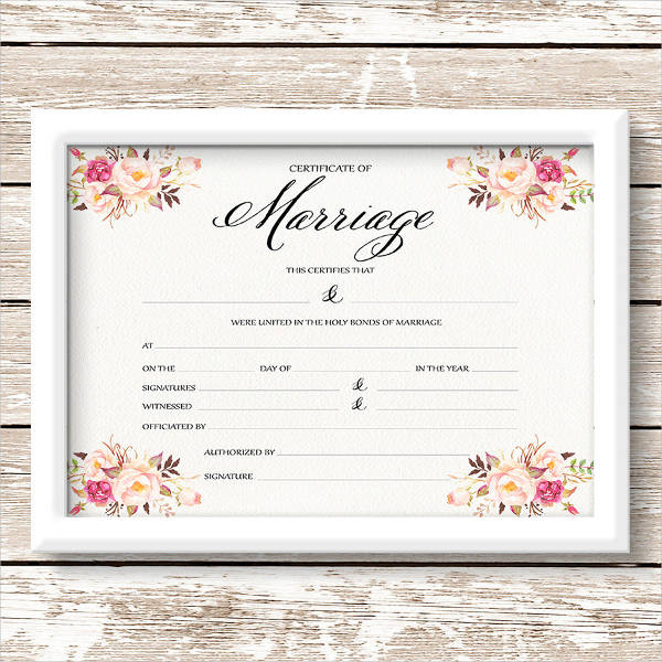 Marriage Certificate Example