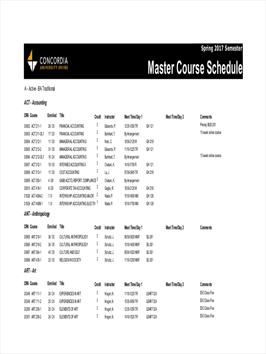 master course schedule sample