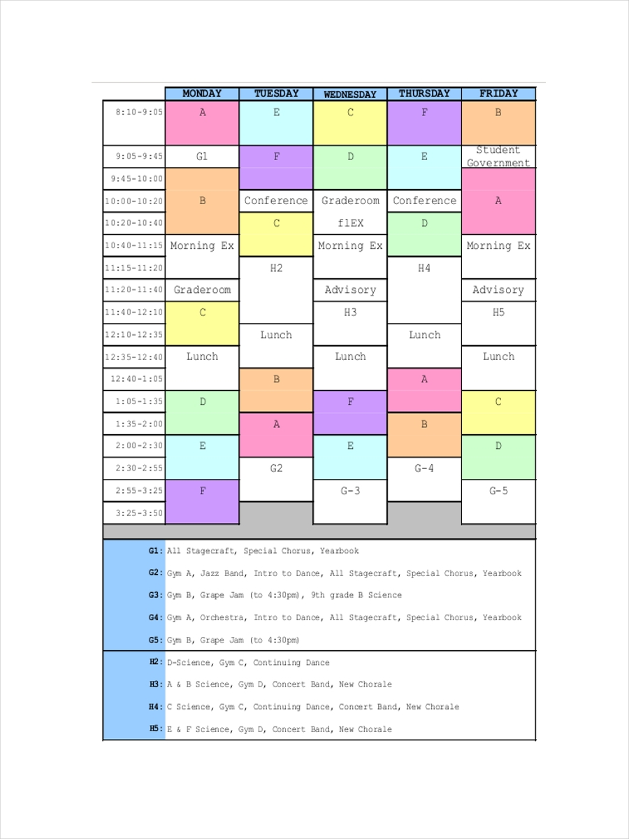 master upper school schedule
