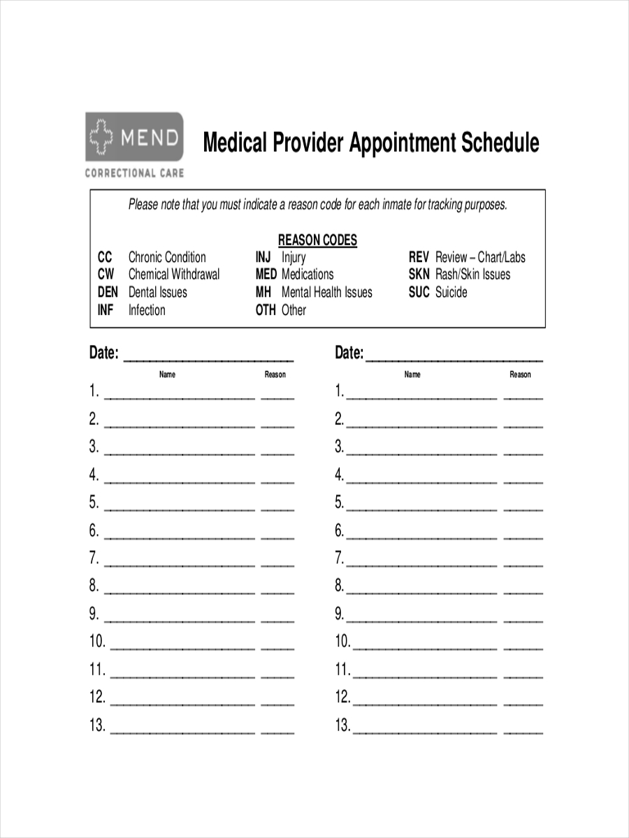 free 10  appointment schedule examples  u0026 samples in pdc