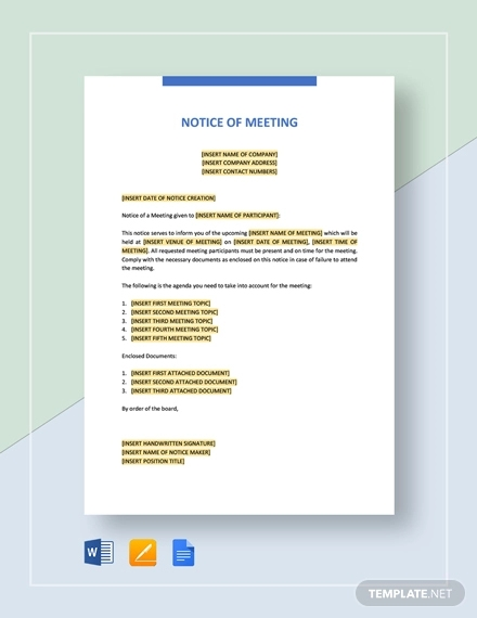 FREE 16+ Meeting Notice Examples & Samples in PDF | Google