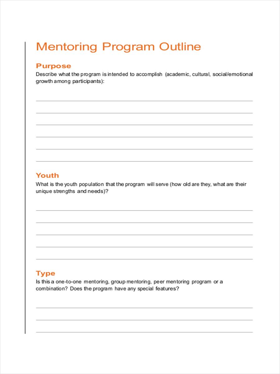 mentoring program sample outline