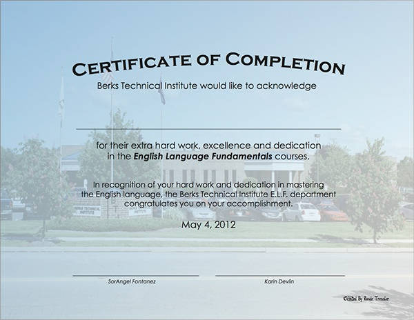 Modern Certificate of Completion