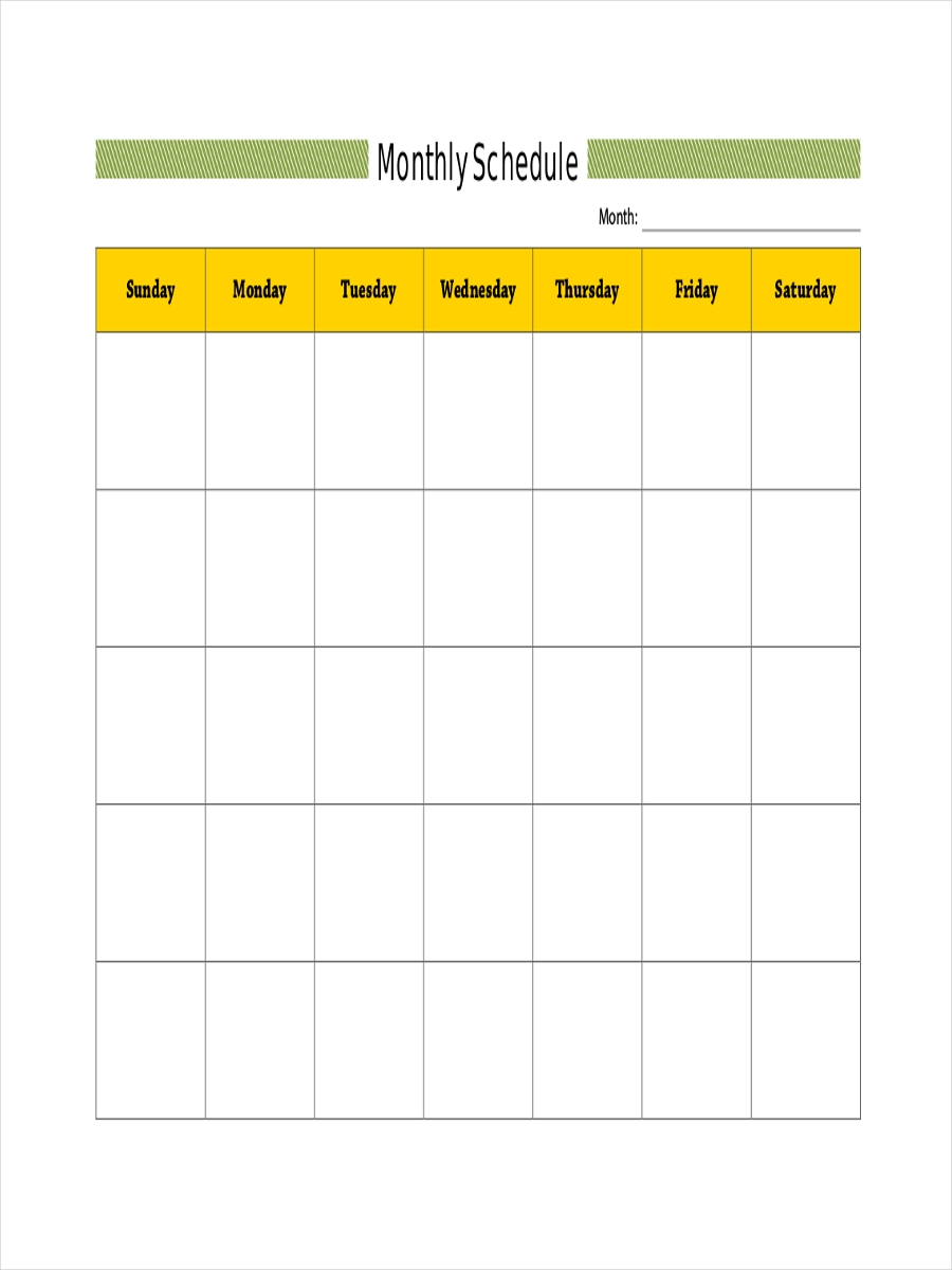 monthly blank schedule
