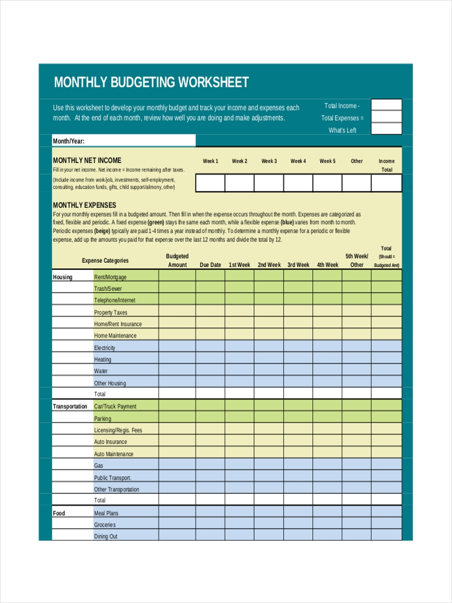 8 examples of monthly sheets