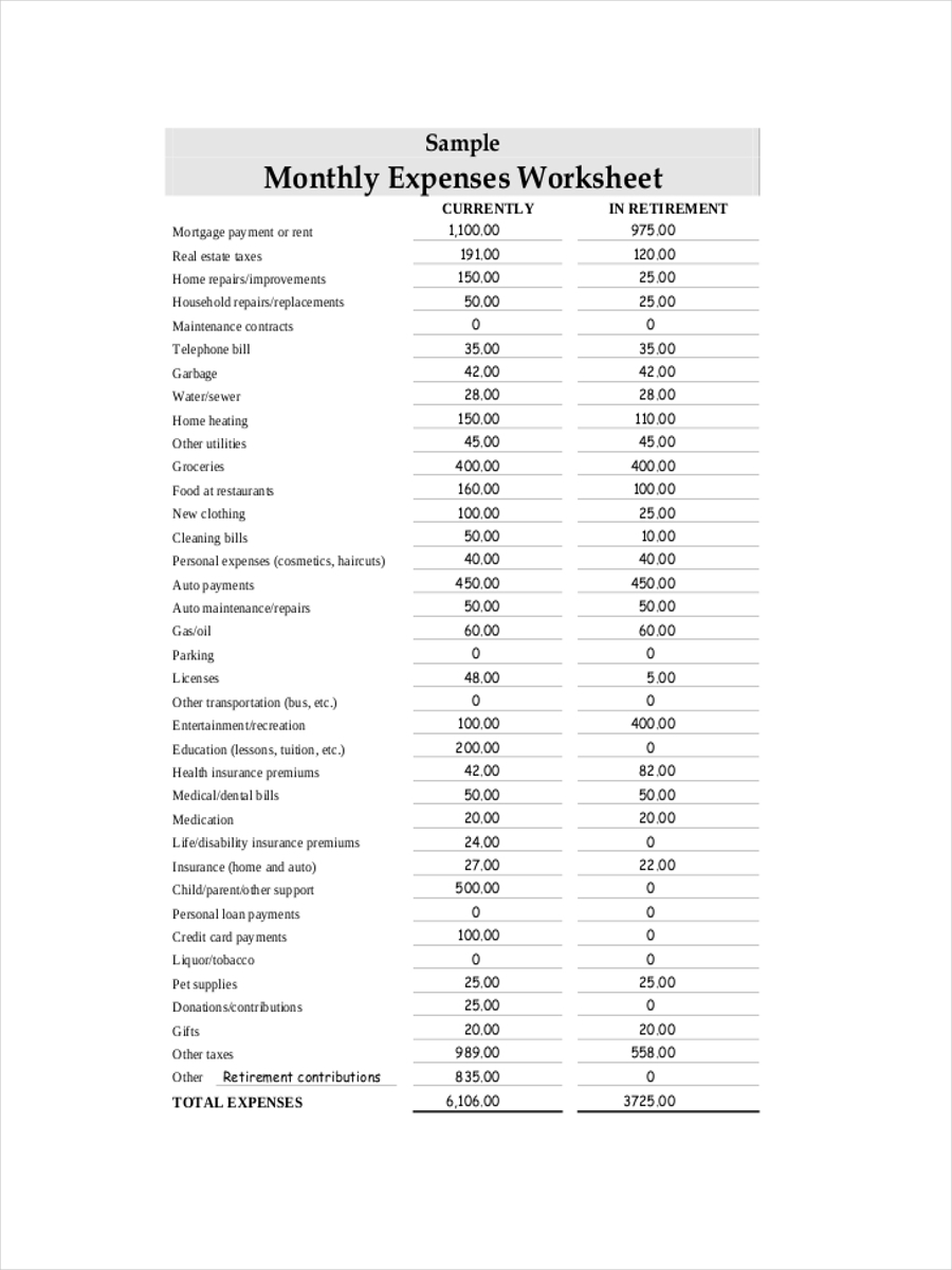 monthly expense sample sheet